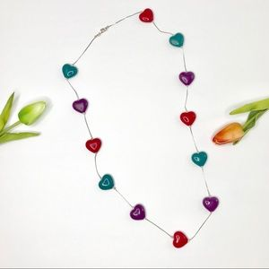 Beautiful Colorful Hearts Long Necklace